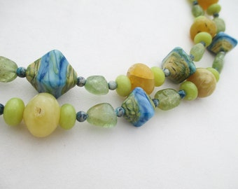 SALE - Aquamarine, Oregon Opal, Serpentine, Lampwork Glass with Sterling Silver necklace