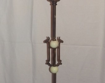 "Antique Victorian Jadeite Floor Lamp Jadite Aesthetic Mvmt 67"" 2 Way Light, Ornate Base, Rewired"