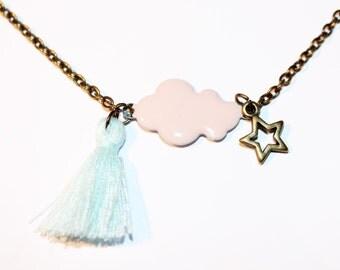 Necklace enamelled cloud rose pale and node mint