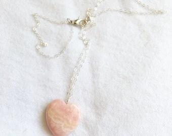 Rhodochrosite Pink Heart Necklace