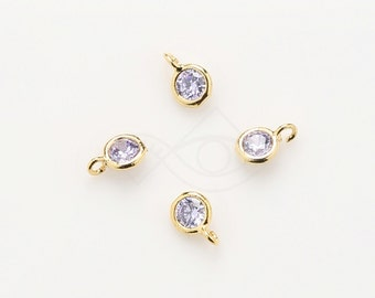 1084081 / Provence Lavender / 16k Gold Plated Brass Framed CZ Pendant  4.2mm x 6.2mm / 0.1g / 4pcs