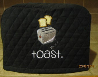 4 Colors to Choose Toaster Cover 2 or 4 Slice, Toast Popping Out Design, Choose from Black, Red, Hunter Green or Cream/Ivory Color