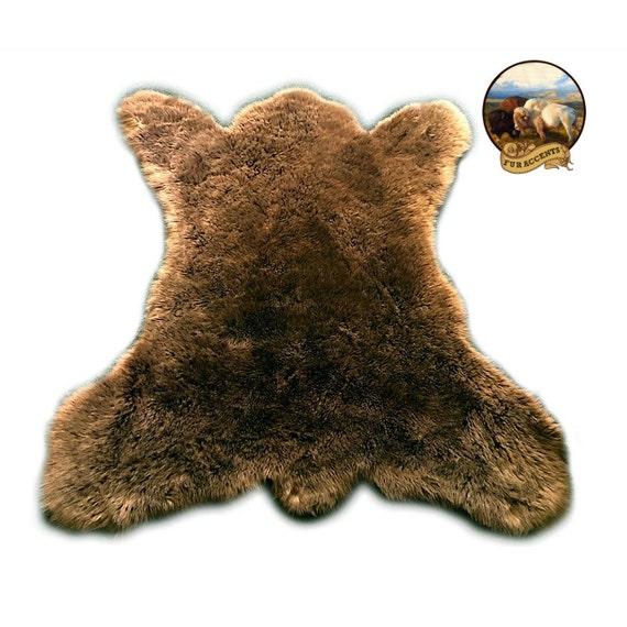 Bear Skin Pelt Area Rug Premium Faux Fur Fake Fur Throw