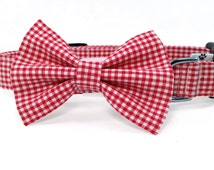Red and white gingham bow tie collar set - cat and dog bow tie and collar set, pet, red dog collar, red cat collar, red bow tie collar set