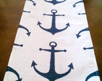 Nautical Table Runner,  Navy Anchor Table Runner, Beach Decor Table Runner