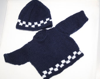 Hand Knitted Navy Blue Sweater/Jumper and Hat for Baby Boy // Size Preemie Baby // Cute Baby Gifts // Baby Shower Gifts // Baby Boy Clothing