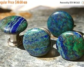 MOVING SALE.... Chrysocolla and Pyrite Cabinet Knobs  - Set of 2, Stone Cabinet Knobs or Pulls, Kitchen cabinet knobs, Chrysocolla, Pyrite