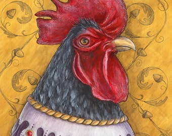 Jerry the Wise rooster portrait Renaissance animal bird limited edition bird print