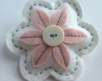 White Felt Flower Brooch