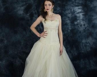 Champagne silk bridal corset, gold wedding corset, beige wedding corset, beige weddding separates, two piece wedding dress, bridal separates