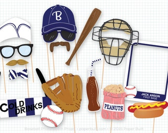 Baseball Photo Booth Props, Navy Sports Photobooth Props, Vintage Baseball Party, Home Run, Baseball Birthday, Sports Party, Sports Birthday
