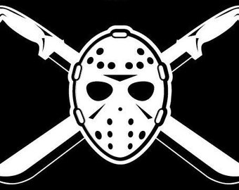 Friday the 13th Vinyl Decal Jason Machete Crossbone