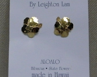 Hibiscus Earrings Hawaiian Made with hypo-allergenic posts