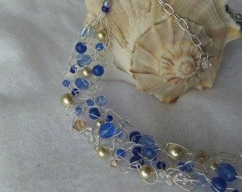 Sapphire & Light Bronze Crochet Wire Necklace