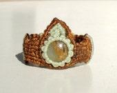 Macrame Ring with Andean Opal, Brown Macrame, Micro Macrame Ring, Saggitarius, Scorpio, Heart Chakra, Throat Chakra