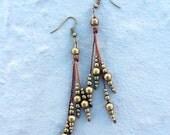 Dangle brass bead earrings, tribal earrings, hippie