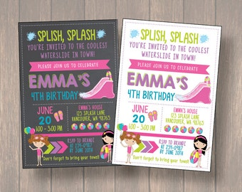 Waterslide Birthday Party Bash Invitation, Water Slide Birthday Invitation, Girl Water Slide Invite