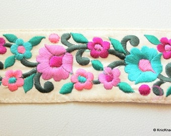 Off White Fabric Trim With Floral Embroidery, Lilac, Mauve, Pink And Green Trim, 59mm wide - 140316L294
