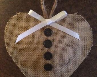 Set of 12 burlap heart christmas ornament