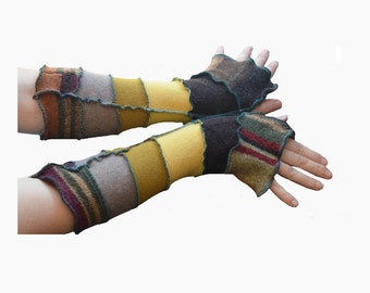 Upcycled Arm Warmers Earth tones All Wool Recycled Reconstructed