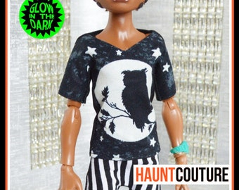 "Monster Doll Haunt Couture Boy: ""Glow in the Dark Full Moon Shirt"" high fashion dress clothes"