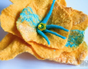Yellow and Turquoise, Bright yellow flower, Big yellow flower, Felted flower brooch, Bridesmaid gift, Summer wedding, ooak