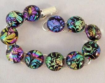 7 Inch Dichroic Multi Colored Fused Glass Bracelet, Fused Glass, Fused Glass Bracelet, Glass Bracelet, Dichroic Bracelet, Dichroic, Bracelet