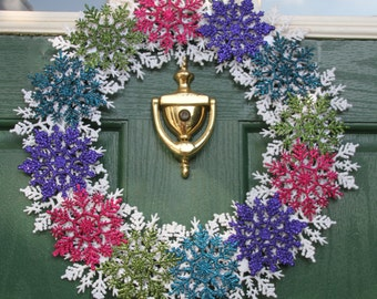 Non Traditional Christmas Wreath - Large Front Door Wreath - Winter Snow - Snowflakes Winter Wonderland - Pink Purple Turquoise Green