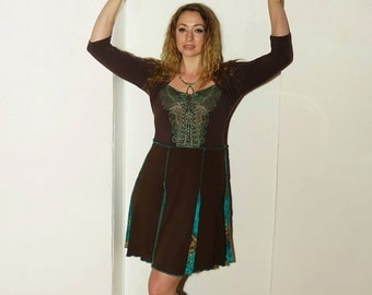 Medium brown with green trim knit dress made from upcycled fabrics repurposed clothing boho ecofashion ecofriendly refashion