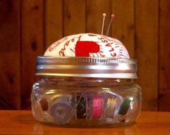 Mason Jar Pincushion- Be My Valentine