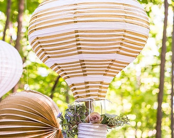 Hot Air Ballon Paper Latern SET OF 3 in Gold and White