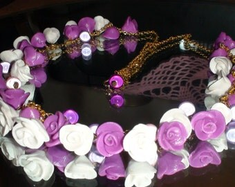 Polimer clay Necklace Designer jewelry Romantic Necklace Rose and magic beads  Wedding jewellery