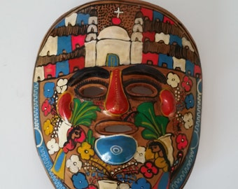 Mexican Handmade Mask - Toluca, Mexico - Handpainted Village Scenes - Mexican Folk Art - Nahuatl Influence - Latin America