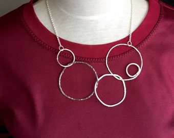 Statement silver ring necklace, contemporary sterling silver necklace, light weight, modern design necklace