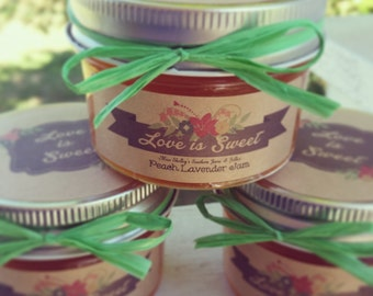 Mason Jar -  Rustic Wedding Favors - 50 (4oz) Jam Favors - Bridal Shower Favors - Jam Wedding Favors - Engagement Favor - Personalized Favor