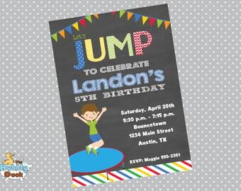 Boy Jump Birthday Invitation