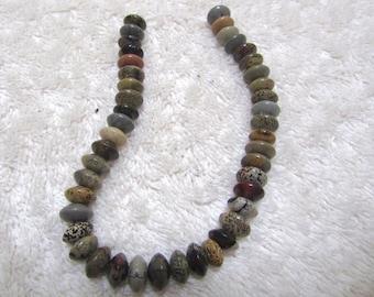 "Jasper, mixed Jasper varieties, 8 mm rondelle, 8"" half strand, bead supply, jewelry making, spacer, necklace, bracelet, earrings"