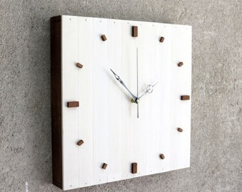 White Christmas Gift,  Modern Clock, White Wall Clock, White Wooden Clock, Square Clock, Wooden Gift, Kitchen Decor, Designer Clock