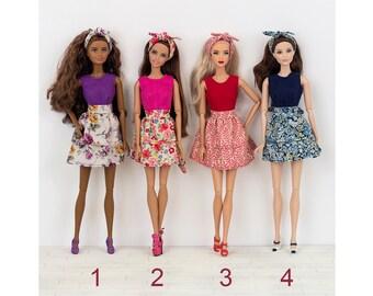 2 flounces dress for Barbie and Poppy