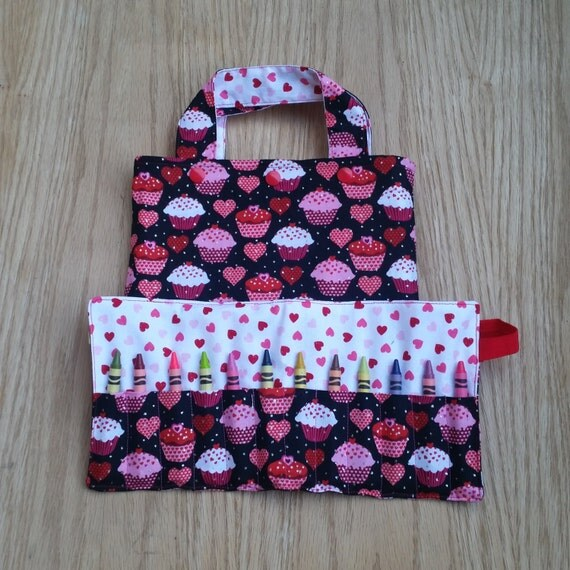 Toddler tote bag coloring roll cupcake heart gift for Arts and crafts tote bags