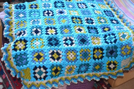 Crochet Blanket Granny Squares Acrylic Turquoise Blue approx 80x80cm