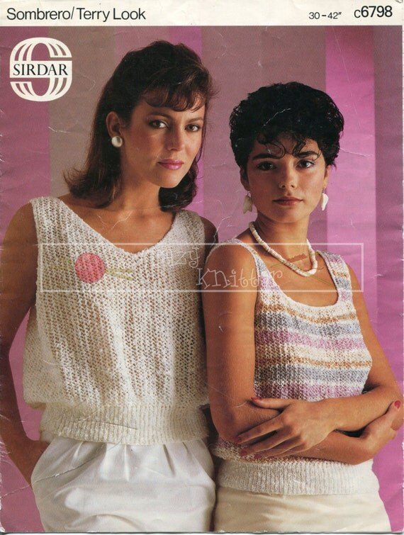 """Lady Summer Tops 30-42"""" 4-ply Sirdar 6798 Vintage Knitting Pattern PDF instant download"""