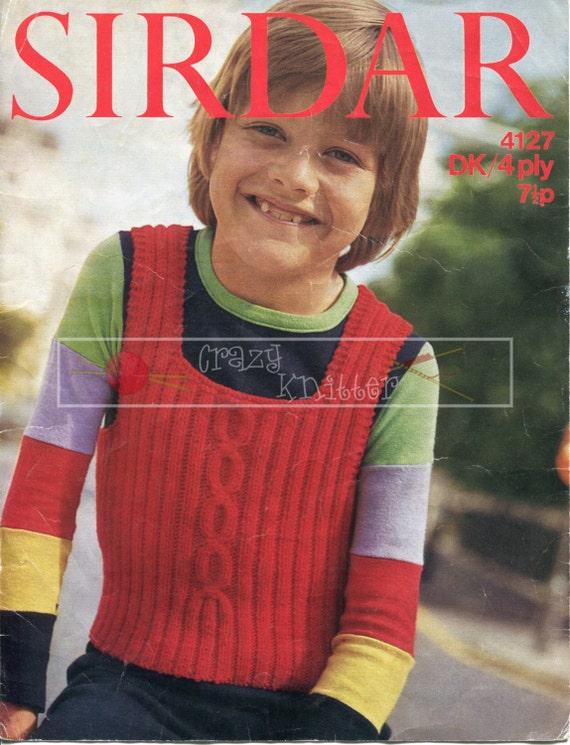 "Boy's Tank Top 24-34"" 4ply DK Sirdar 4127 Vintage Knitting Pattern PDF instant download"