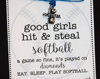 12 Softball Wish Bracelets ... GOOD GIRLS ... Great for Gifts, Team Spirit, Birthday Favors and More!