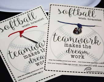 Limited Supply 10 Softball Wish Bracelets ... TEAMWORK...Your Choice of Bat or Mitt ...Great for Gifts, Team Spirit, Birthday Favors and Mor