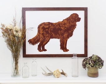 The Brown Newfoundland Dog. Large Handmade Newfoundland Portrait. 18 x 24 Inch Screen Print, Wall Art, and Home Decor.