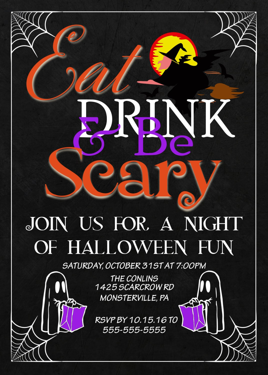 Printable Halloween Party Invitation, Halloween invitations ...