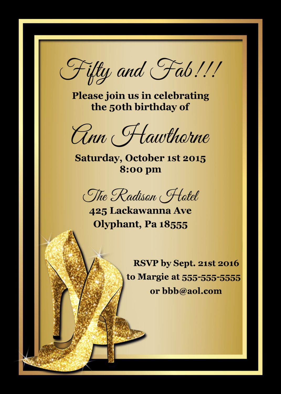 50 and Fabulous Birthday Invitations Black and Gold 50th – 50th Birthday Invitations Printable