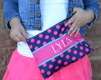 Personalized Large cosmetic bag - Monogram polka dots