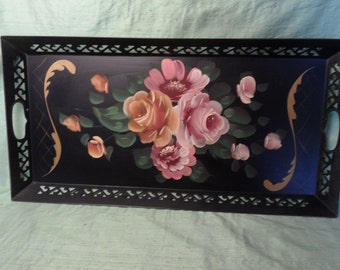"""Toleware rectangular vintage black and pink floral tray / Larger 24"""" Tole Metal Tray"""